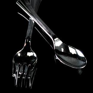 Salad utensil pk 2 hangcell (1 spoon, 1 fork) 1+1/24/4