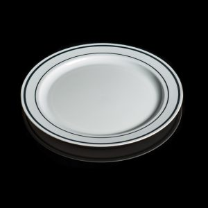 """6"""" White Plate with silver rim 12/20"""