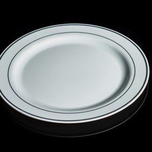 """9"""" White Plate with silver rim 12/20"""